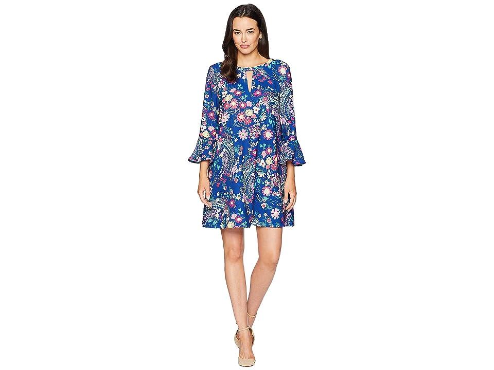 eci 3/4 Ruffle Sleeve Floral Printed Keyhole Dress (Blue/Multi) Women