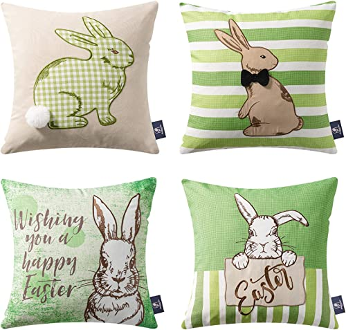 2021 Phantoscope Pack of 4 Happy Easter Throw Pillow Case Cushion Cover Green Rabbit 18 x 18 inches 45 x 2021 45 wholesale cm outlet online sale