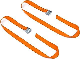 "PowerTye 1½"" x 4ft Heavy-Duty Lashing Strap Made in USA with Heavy-Duty Buckle, 2-Pack Orange"