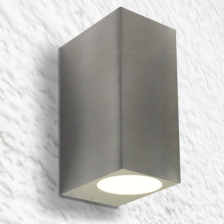 LED Wandleuchte Wandlampe Außenleuchte Up Down 2-Flammig Aluminium Edelstahl geb. Form:I IP44 GU10-230V (Warmweiß) Warmweiß