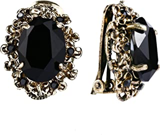 Women's Victorian Style Crystal Floral Cameo Inspired Oval Clip-On Earrings