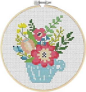 Maysurban Stickerei Set Kreuzstich Starter Kit Vorgezeichnet zum Sticken Stickset zum Selbersticken mit V/ögel und Blumen 45x45cm//Jeder