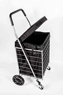 PrimeTrendz PT5614 Grocery Laundry Utility Shopping Cart With Water Proof Black Liner Cover | Heavy Duty, Light Weight Trolley with Rolling Swivel Wheels | Portable and Easily Collapsible, Silver