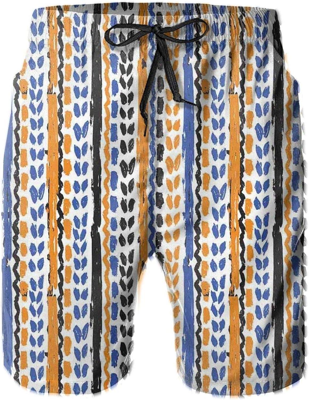 Watercolor Chevron Zigzags with Brush Strokes Ethnic Herringbone Lines Drawstring Waist Beach Shorts for Men Swim Trucks Board Shorts with Mesh Lining,L