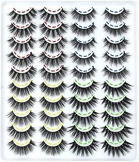 HANWENER 20 Pairs False Eyelashes 4 Styles 3D Fluffy Volume Eyelashes Pack Faux Mink Lashes Packs
