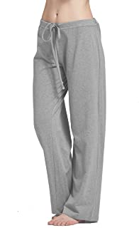 Womens casual stretch cotton pajama pants simple lounge pants charcoal