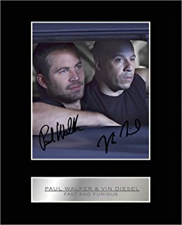 iconic pics Paul Walker and Vin Diesel Signed Mounted Photo Display Fast and Furious