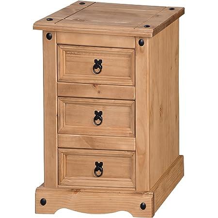 Antique Wax H-64cm W-45cm D-35cm Mercers Furniture Corona 3 Drawer Bedside Pine Wood