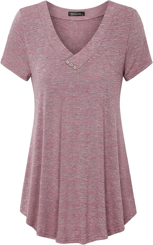 Vinmatto Women's Summer Short Sleeve V Neck Flowy Plus Size Tunic Top