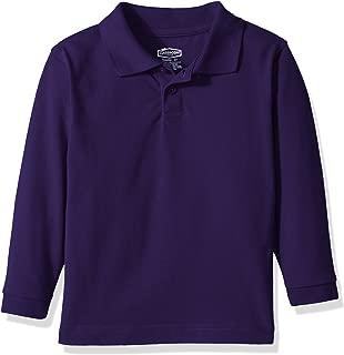 Classroom School Uniforms Kids' Toddler Preschool Unisex Long Sleeve Pique Polo, Dark Purple, 4T