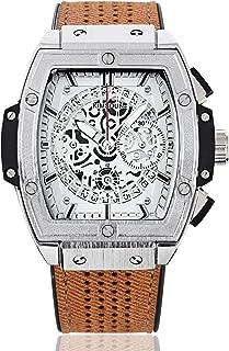 Steampunk Skeleton Watch Men Quartz Wristwatch Silicone Leather Sports Watches
