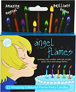 Angelflames Birthday Candles with Cold Color Flames for Boys (Blue and Green Flames, 12 per Box, Holders Included)