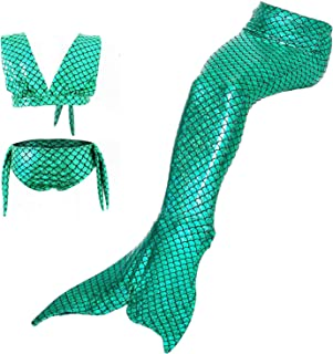 3pcs sequins Mermaid Tail for Swimming Kids Girls Swimsuit Swimwear performance costume