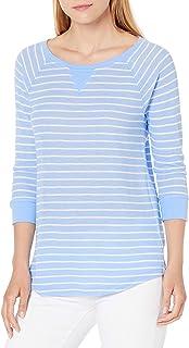 Calvin Klein Women's Monterey Stripe 5/8 Sleeve Raglan Shirttail Pullover