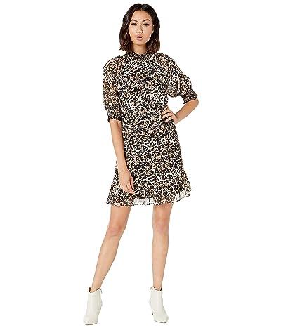 kensie Ink Splot Short Sleeve Dress KS8K8403 (Camel Combo) Women