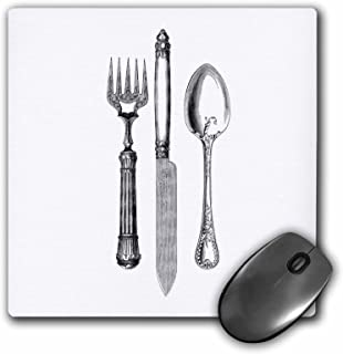3dRose 8 x 8 x 0 25 Inches Black and White Vintage Cutlery Set Fancy Fork Knife and Spoon Drawing Restaurant Kitchen Chef ...