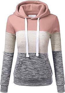 Lomelomme Kapuzenpullover Damen Mode Kordelzug Pullover mit Kapuze Freizeit Farbblock Patchwork Hoodies Sweatshirt Mit Tas...