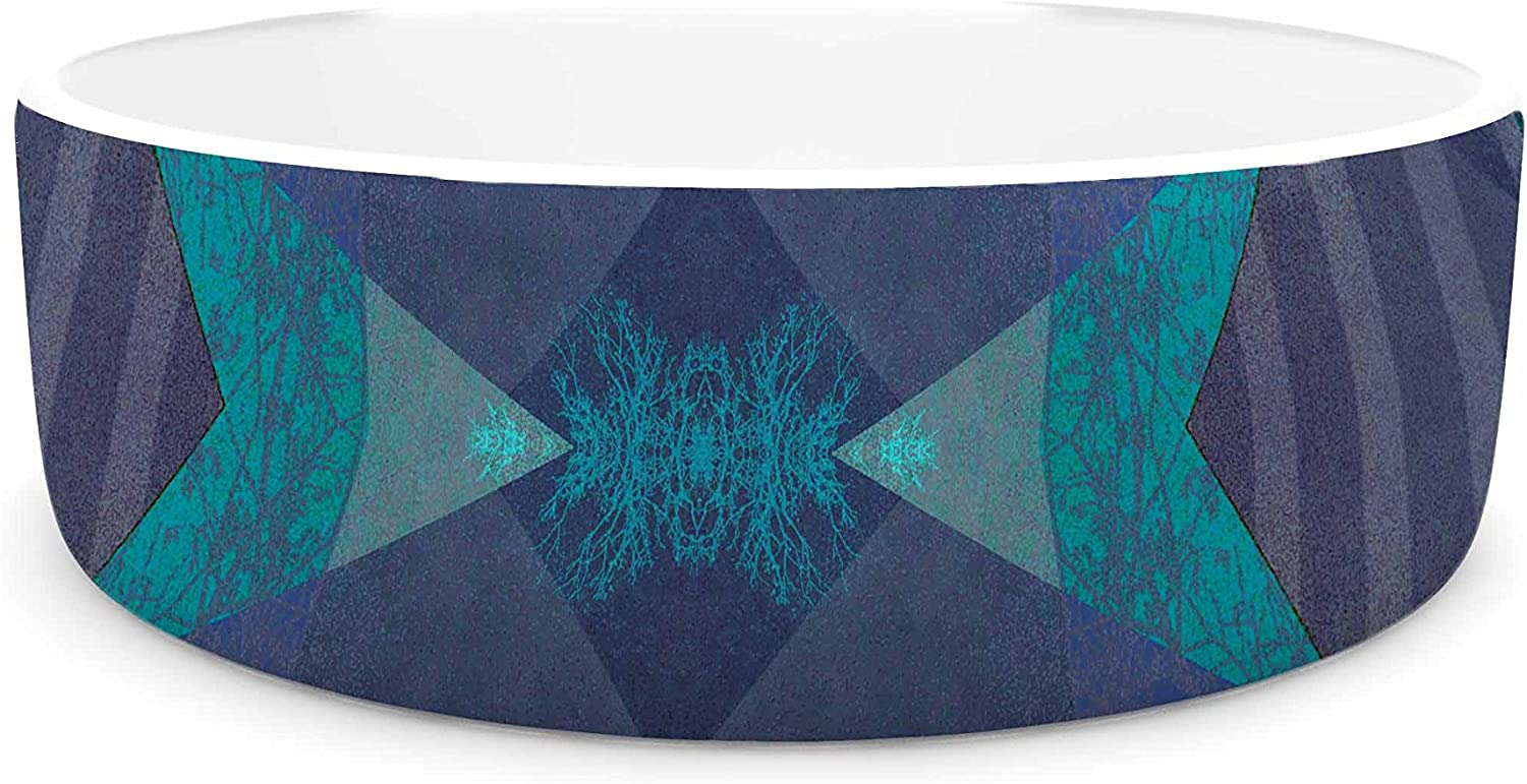KESS InHouse Pia Schneider Turquoise bluee Pattern19A bluee Teal Mixed Media Pet Bowl, 7