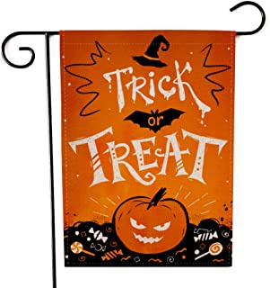 """Fiuqaomy Halloween Trick or Treat Garden Flag Vertical Double Sized, Holiday Burlap Yard Outdoor Decoration 12.6"""" 18.5"""""""