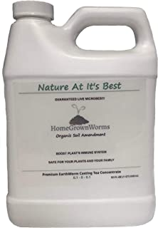 HomeGrownWorms.com - Premium Organic Worm Tea Concentrate (1 QT) - Guaranteed LIVE Microbes! Bottled when Ordered! Makes OVER 10 GALLONS Premium Leachate! Organic Fertilizer for Gardens & House Plants