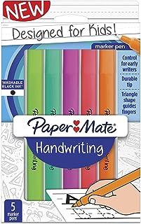 Paper Mate Handwriting Triangular Pens, Washable Black Ink, Fun Barrel Colors, 5 Count (2017533)