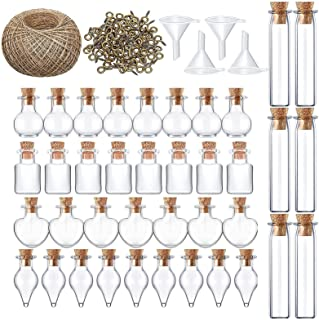 Per Newly Mini Glass Bottles with Cork Lids for Wedding Decorations and Celebrations, Glass Shot Bottles Come with String ...