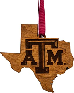 Texas A&M University Wooden Ornament - State Map with Logo