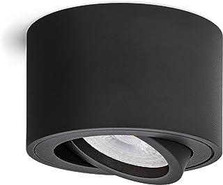 linovum SMOL Spot LED à monter en saillie Noir mat – Plat & orientable – Spot de plafond avec module LED interchangeable 5...