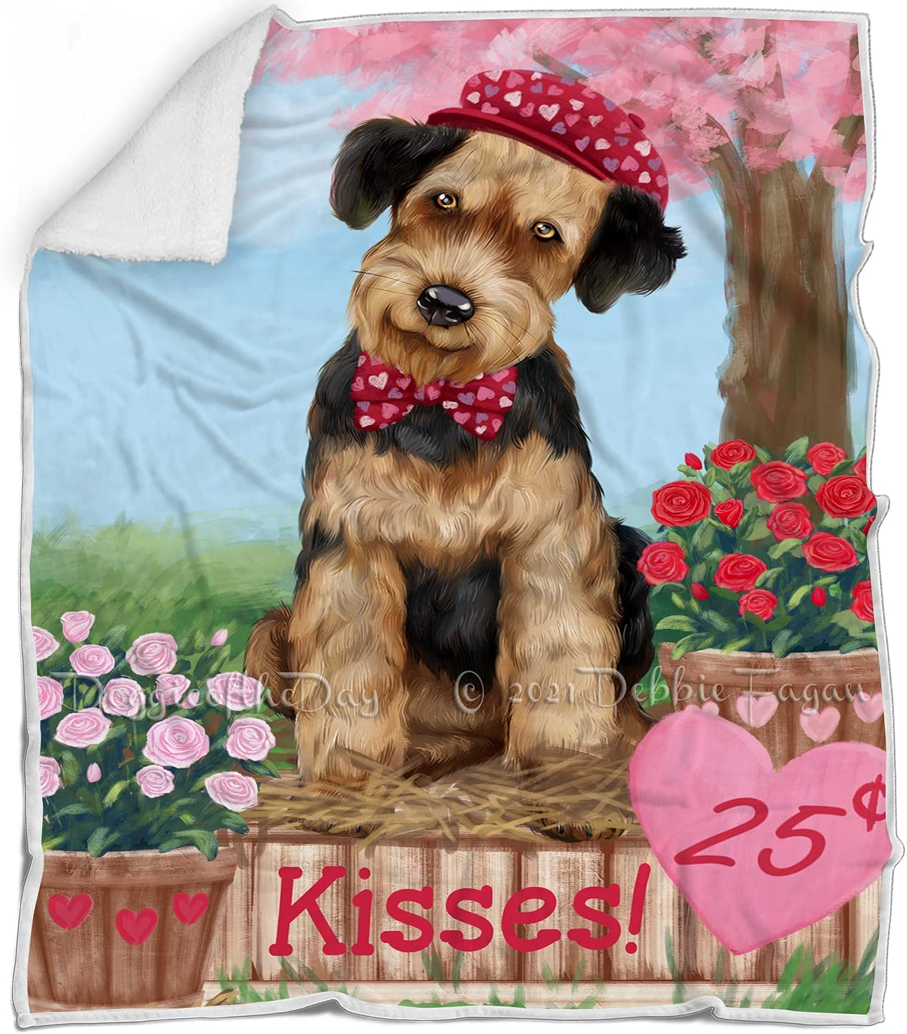 Rosie 25 Cent Kisses Airedale Dog Max 78% OFF Fluffy - Wa Multicolor Blanket Max 40% OFF