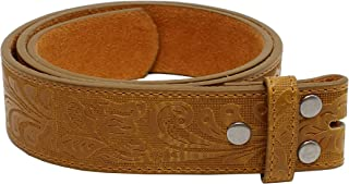 "Leather Belt Strap with Embossed Western Scrollwork 1.5"" Wide with Snaps"