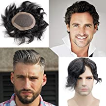 Rossy&Nancy Skin Men's Human Hair Wigs Toupee Mono Base with Thin Skin Hairpieces for Man 80% 1B Black Hair Mixed 20% Grey Color 130% Density 6