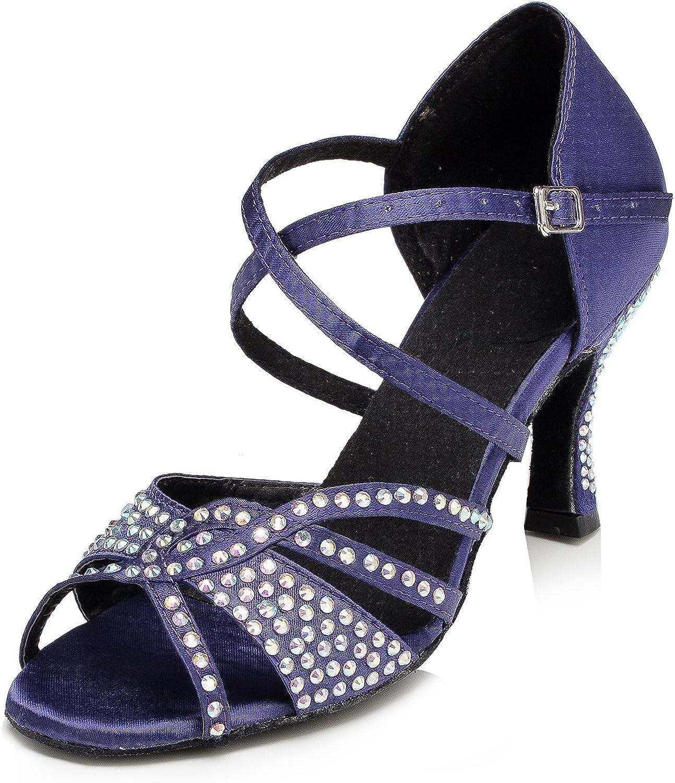 URVIP Women's Satin Heels Pumps Modern Latin Tango shoes Cross Ankle Strap Buckle Dance shoes LD038