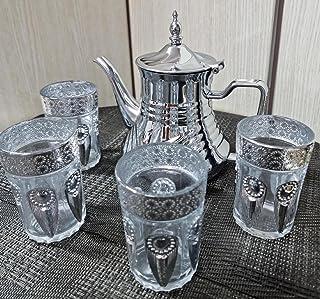 Service à thé marocain, Théière avec filtre intégré de 36 oz et 4 verres