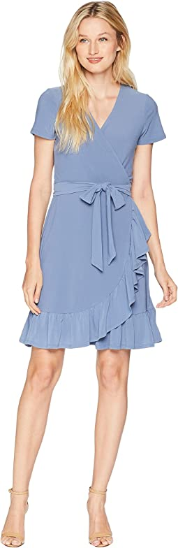 Short Sleeve Belted Wrap Dress