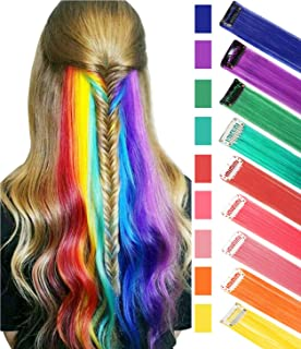 BINIHA Rainbow Hair Extensions Colored Party Highlights Straight Hair Extension Clip In/On For Amercian girls and Dolls Kids Costume Wig Pieces 9PCS