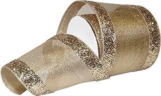 "Morex Ribbon Wired Metallics Glitter Chic Ribbon, 4"" x 10 yd, Gold"