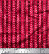 Soimoi Red Rayon Fabric Dotted Chevron & Leaves Block Printed Fabric 1 Yard 56 Inch Wide