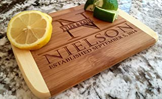 Personalized Gifts Couples Cutting Board - Wood Cutting Boards Bridal Shower, Housewarming, and Wedding Gifts (6 x 8 Two Tone Bamboo with Curved Edges, Nielson Design)