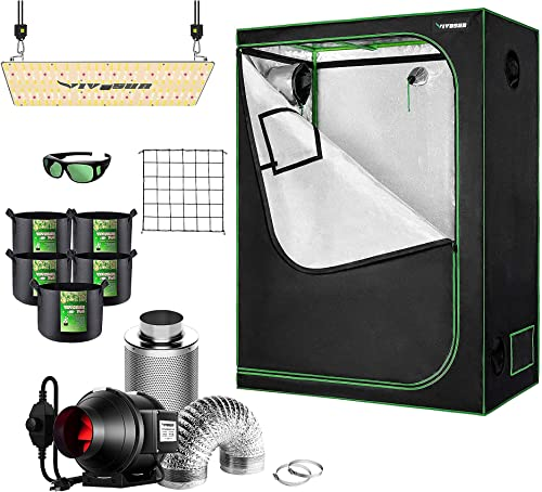 """lowest VIVOSUN 48""""×24""""×60"""" Mylar high quality Hydroponic Grow Tent Complete Kit with 4 Inch Inline Duct Fan Combo Ventilation System, VS2000 LED Grow Light, Glasses, discount Grow Bags, Trellis Netting outlet online sale"""