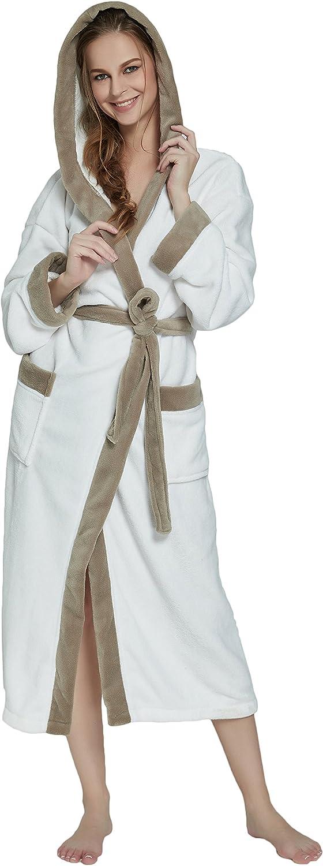 OUFANG Hat Herringbone Women's Bathrobe in 2 Tone Soft Spa Kimono Shawl Collar Robe