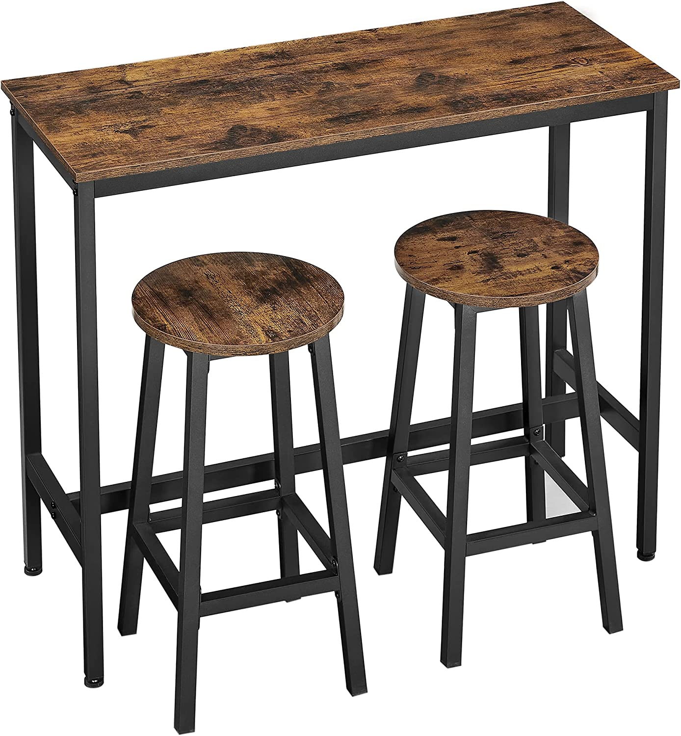 Buy VASAGLE Bar Table and Chairs Set, Kitchen Bar Table with Bar ...