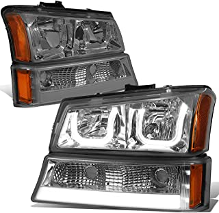 For Chevy Silverado/Classic/Avalanche Smoked Lens Amber Corner LED DRL Halo Headlights+Turn Signal Lights