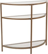 Spatial Order Half-Moon Modern Metal and Glass Accent Table, Gold
