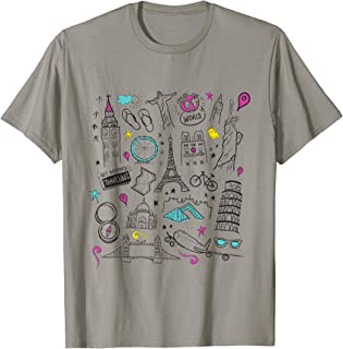 Traveling T-shirt With Travel Icons and world landmarks