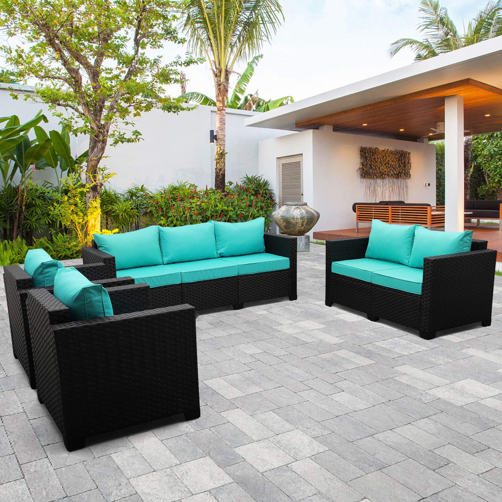OutdoorWickerFurniture Set 4 Pieces, Patio Sectional Sofa Couch Set with Turquoise Cushions and Furniture Covers, Black ...