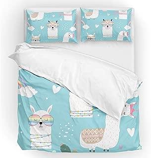 U LIFE Bedding Duvet Cover Set Full Size 3 Piece Set 1 Quilt Cover and 2 Pillow Cases Shams Cute Llamas Camel Rainbow Blue for Kid Boy Girl Women Men