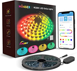 MINGER DreamColor LED Strip Lights, Smart Music Sync Light Strip Phone App Controlled Waterproof for Party, Room, Bedroom,...
