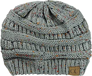 C.C NYfashion101 Exclusive Colorful Confetti Soft Stretch Cable Knit Slouch Beanie - Natural Gray