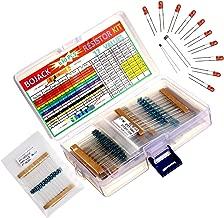 BOJACK 630 Pcs 17 Values Resistor Kit 0 Ohm-1M Ohm with 1% 1/4W Metal Film Resistors Assortment and Free Product 1 Pcs Thermistor &1 Pcs Photoresistor&10 Pcs LED