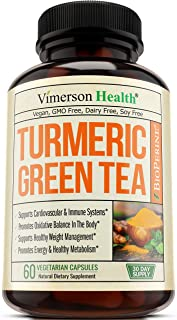 Turmeric Curcumin with Green Tea Extract Supplement. EGCG, Vitamin C, Bioperine. Polyphenols and Antioxidant Properties for Immune Support. Boosts Metabolism and Energy, Healthy Weight Management